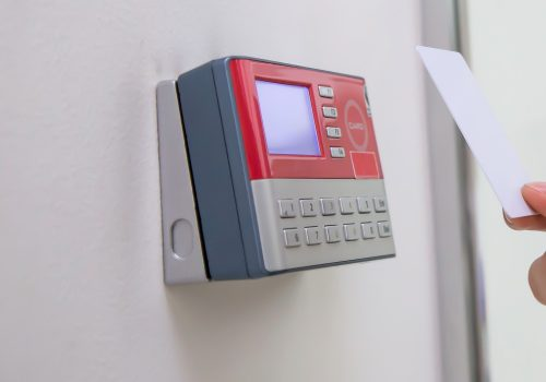 office-man-using-id-card-scan-access-control-open-security-door
